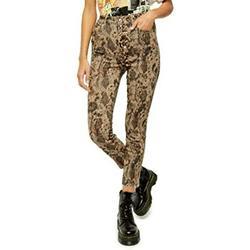FREE PEOPLE Womens Beige Zippered Animal Print Skinny Jeans Size 30 Waist