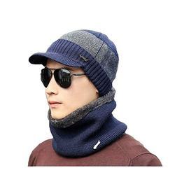 Sunisery Knitted Hat Men Winter Beanie Hat Scarf Bonnet Balaclava Beanie Cap