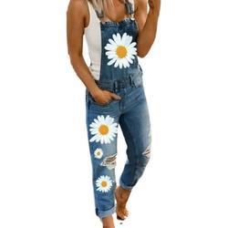 SySea Daisy Floral Printed Long Denim Bibs Overalls Women Blue Denim Jeans Pants
