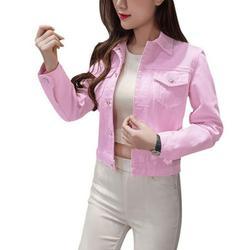 Boyfriend Jean Jacket Women Denim Jackets Vintage Long Sleeve Jacket Casual Slim Coat Candy Color Bomber Jacket Pink M
