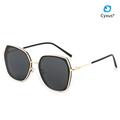 Cyxus Oversize UV400 Protection Anti Glare Polarized Sunglasses For Women Men Gold Metal Frame