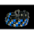 3-row Metal Pyramid Studded Leather Belt 3-tone Striped Punk Rock Goth Emo Biker - Blue With Silver And Black / M