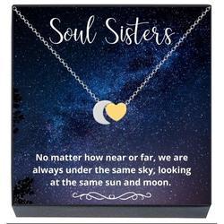 Soul Sisters Necklace, Best Friends Jewelry Gifts, Soul Sisters Moon Heart Necklace, Unique Friendship Jewelry Gifts Best Friends Forever, BFF, Besties, Women, Teens, Girls (2-Tone Gold)