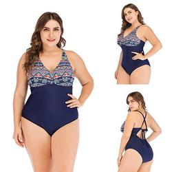 Plus Size One Piece Bathing Suits for Women's Floral Printed Swimsuits Bathing Suit V Neck Swimwear