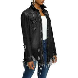 Ma&Baby Women Denim Jacket Long Sleeve Lapel Button Down Ripped Jeans Jacket Coat Plus Size