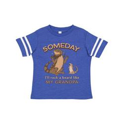 Inktastic Someday I'll Rock A Beard Like My Grandpa-Bearded Dragons Toddler T-Shirt Unisex, Football Blue and White, 4T