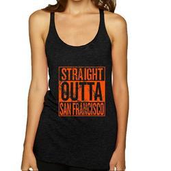 Straight Outta San Francisco SF Fan Fantasy Baseball Fans Womens Sports Premium Tri-Blend Racerback Tank Top, Vintage Black, Medium