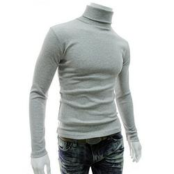 Ma&Baby Men Top Warm Cotton High Neck Pullover Jumper Sweater Tops Gray M