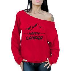 Awkward Styles Black Off Shoulder Sweater Happy Camper Off The Shoulder Sweatshirt Camper Off Shoulder Sweater for Mom Happy Camper Oversized Sweater for Women Camping Clothes Happy Camper Sweatshirt