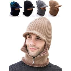 Deago Men Winter Knitted Balaclava Beanie Hat Scarf Set Warm Cycling Ski Mask Neck Warmer with Thick Fleece Lined Zipper Winter Hat & Scarf (Khaki)
