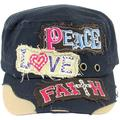 SILVERFEVER Women's Military Cadet Cap Hat - Patch Cotton - Studded & Embroidered (Navy, Peace Love Faith)