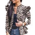 Sexy Dance Women Classic Biker Stand Collar Jacket Zip up Bomber Jacket Coat Ladies Ruffled Jacket Slim Fit Work Blazer Suit Outwear