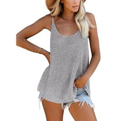 Dokotoo Women's Tank Tops Sleeveless Summer Loose V Neck Knitted Camis Casual Vest Shirts Sweater Tees Size Large 12 14