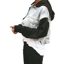 Women Cropped Jackets Casual Tassel Denim Coat Contrast Color Stitching Front Pockets Tops Loose Cardigan Womens Activewear Jackets
