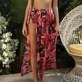 TANGNADE Women Printed Swimsuit Cover Up Mesh Bikini Swimwear Beach Cover-Ups Wrap Skirt