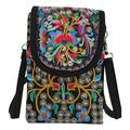 EEEkit Crossbody Purses and Handbags, Women Retro Embroidery Printed Handmade Mini Crossbody Bag Cellphone Pouch Small Handbag Coin Purse, 10.62 x 4.72 x 1.57 inches