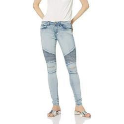 Cover Girl Plus Size High Waist Biker Moto Rugged Tough Girl Slit Skinny Juniors, Light Blue Wash, 24