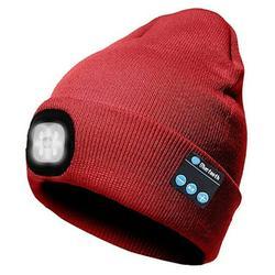 Winnereco LED Beanie Hat, Men Women Wireless Bluetooth Beanie Knitted Hat (Red)