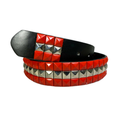 3-row Metal Pyramid Studded Leather Belt 2-tone Striped Punk Rock Goth Emo Biker - Red With Silver Center / M