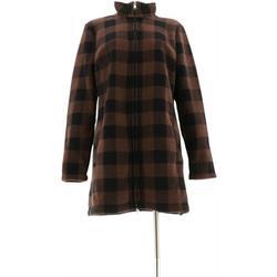 Denim & Co Plaid Sherpa Lined Fleece Zip Jacket Women's A299202