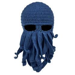 Octopus Cthulhu Beard Hat Beanie Hat Knit Hat Winter Warm Octopus Hat Windproof Funny Men Women Hat Cap Wind Ski Mask in Navy Blue