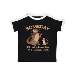 Inktastic Someday I'll Rock A Beard Like My Grandpa-Bearded Dragons Toddler T-Shirt Unisex, Ringer Black and White, 4T