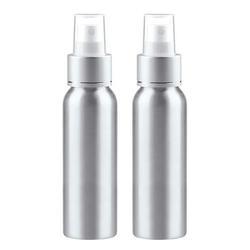 Aluminum Fine Mist Spray Bottle, 3.4oz/100ml Metal Spray Bottle Refillable Cosmetic Travel Empty Essential Oil Spray Bottles, Pack of 2