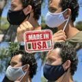 5x Adjustable Face Masks MADE IN USA Washable Reusable Soft Double Layer Fabric Adjusted Ear Loops Gray with White Trim