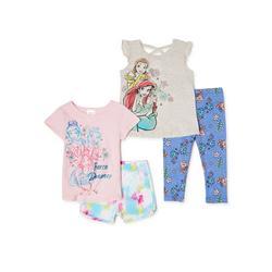 Disney Princesses Toddler Girls Mix 'n Match T-Shirt, Tank Top, Shorts & Leggings, 4-Piece Outfit Set, Sizes 2T-5T