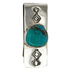 Navajo Handmade Certified Authentic .925 Sterling Silver Natural Turquoise Native American Nickel Money Clip