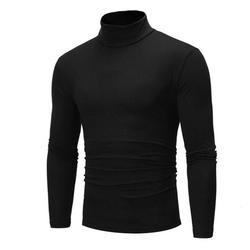 Fashion Mens Roll Turtle Neck Pullover Knitted Jumper Tops Sweater Black Size XL