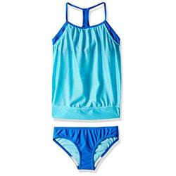 Speedo Girl's Swimsuit Two Piece Tankini Mesh Blouse Thin Strap - Manufacturer Discontinued