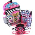 LOL Surprise 16 Inch Backpack 5-PC Set with Water Bottle, Snack Tote, Pencil Pouch, Carabiner and Goodies Bundle Squadgoals Stripe LOL Backpacks for Girls LOL Remix