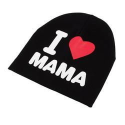 HERCHR Baby Turtleneck Hat, Baby Hood Cap(I Love MAMA Black), Children Wool Hat, Baby Cotton Beanie Hat, Baby Soft Cap, Kids Winter Warm Christmas Hat, Baby Hat Warm Windproof Wool Hat, Baby Warm Hat