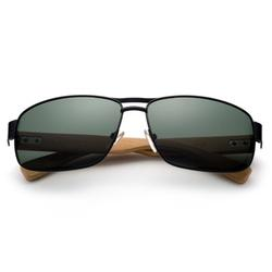 High Qaulity Polarized Sunglasses with Real Bamboo Arm Squre Aviator Sunglasses Bamboo Sunglasses for Men & Women