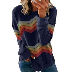 Dokotoo Womens Side Split Sweatshirt Color Block Long Sleeve Tunic Tops Navy Blue Shirts Size Large US 12-14