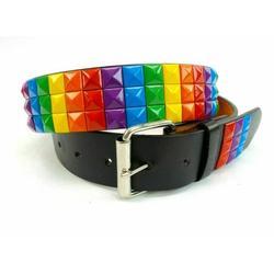 Three Row Rainbow Studded Pyramid Belt Lbgt Bonded Leather Punk Rock Colorful - Xl