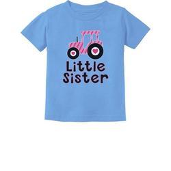 Tstars Girls Little Sister Clothes Gift for Little Sister Little Sister Cute Pink Tractor Cute Little Sister Shirt Girl Toddler Infant Kids T Shirt