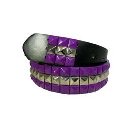 3-row Metal Pyramid Studded Leather Belt 2-tone Striped Punk Rock Goth Emo Biker - Purple With Silver Center / Xl