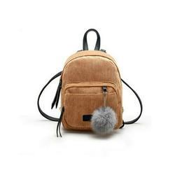 Listenwind Women Mini Corduroy Backpack School Bags Solid Backpack Pendant Small Zipper Shoulder Bag Rucksack