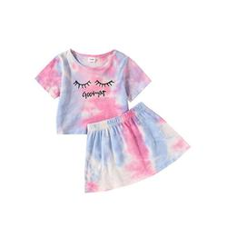 Canrulo Toddler Baby Girls Set Graphic Print Top and Leopard Print Short Skirt 2Pcs Set