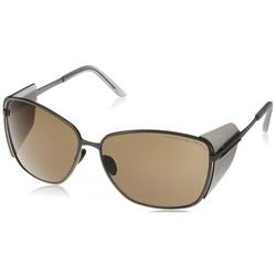 Porsche Design P8599-A Women's Titanium Gunmetal Brown Lens Sunglasses