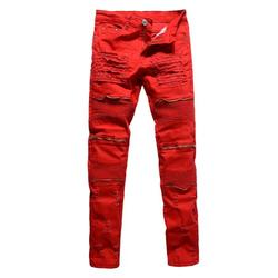 Canis Men's Distressed Ripped Biker Moto Denim Trousers Pants Slim Fit Zipper Jeans