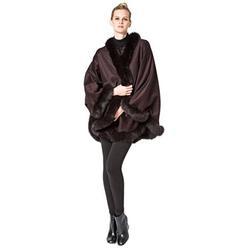 Cashmere Cape with Fur Trim/Cashmere Cape/Cashmere Capes/Cape/Capes/Fur Cape/Fur Capes for women/Capes and Shawls/Fur Caplet/Caplet/Coat/Poncho/Shrug/Ruana (MO2NL-COFFEE)