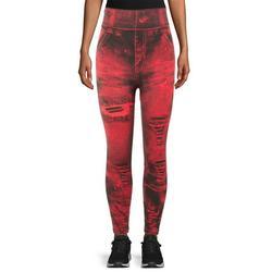 LELINTA Women Sexy Skinny Leggings Slim Faux Denim Look Jeans Jeggings Stretchy Jeggings Pants, Dark Red