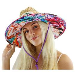 Woman's Sun Hat, Mermaid Straw Hat with Fabric Pattern Print Lifeguard Hat, Beach, Ocean, Pool, Walking, and Outdoor, Summer Hat, Fits All, Malabar Hat Co