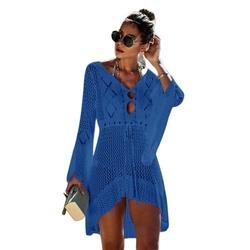 Women Bikini Cover-Ups Ladies Summer Cover Up For Beach Summer Knit Hollow Out Swimwear Ladies Loose Beach Cover-Ups Dress Tops