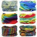 MAKLULU 6pc Seamless Bandanna Tube Headwear Scarf Wrap,12-in-1 Outdoor Sport Headband with UV Resistance (06-Rainbow)