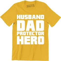 Funny Husband Dad Protector Hero Fathers Day Dad Daddy Birthday Mens T-Shirt