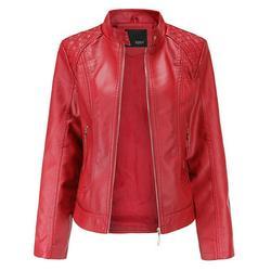 Women PU Leather Tops Motorcycle Zipper Jacket Coat Casual Winter Warm Outerwear